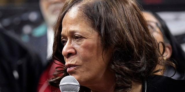 Tears stream from the eyes of Rutgers head coach C. Vivian Stringer as she addresses the fans after Rutgers defeated Central Connecticut for her 1,000th career NCAA college basketball game win, Tuesday, Nov. 13, 2018, in Piscataway, N.J.