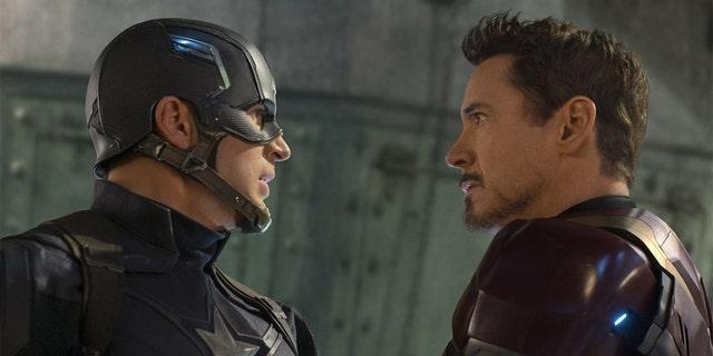 Chris Evans as Captain America and Robert Downey Jr. as Iron Man.