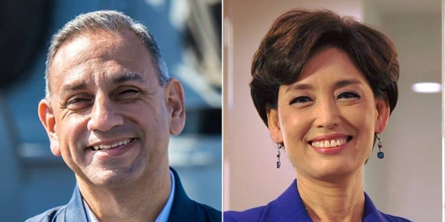 The race between Gil Cisneros (left) and Young Kim (right) is ranked a toss-up.