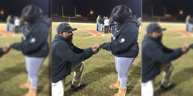"""A Georgia woman said """"yes"""" to her boyfriend's marriage proposal — which he pulled off with a little help from the players of the high school football team he coaches."""