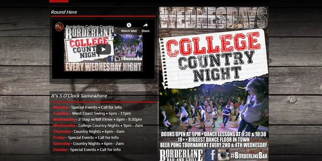 The Borderline Bar & Grill website promoted Wednesday's country music event.