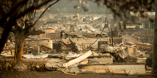 Leveled residences line a block following the Camp Fire in Paradise, Calif., on Monday, Nov. 12, 2018.