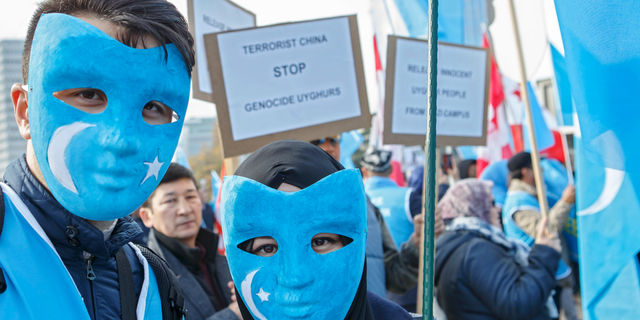 Uyghurs people demonstrate against China during the Universal Periodic Review of China by the Human Rights Council, on the place des Nations in front of the European headquarters of the United Nations, in Geneva, Switzerland.