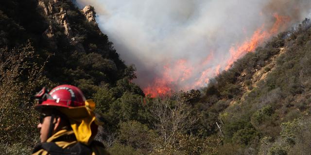 A firefighter monitors a wildfire burning along a hillside Sunday, Nov. 11, 2018, in Malibu, Calif.