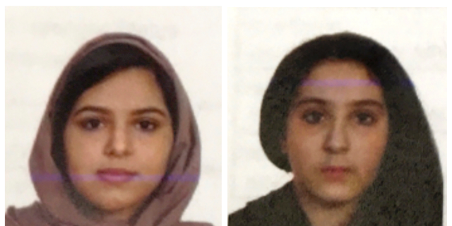 FILE - These two undated file photos provided by the New York City Police Department (NYPD) show sisters Rotana, left, and Tala Farea, whose fully clothed bodies, bound together with tape and facing each other, were discovered on on the banks of New York City's Hudson River waterfront on Oct. 24, 2018. The apparent suicide the sisters highlights the often secretive and risky attempts by Saudi women trying to flee abusive families. (NYPD via AP, File)