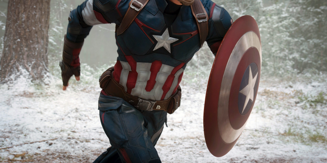 Chris Evans is seen as Captain America/Steve Rogers, in the film, 'Avengers: Age Of Ultron.'