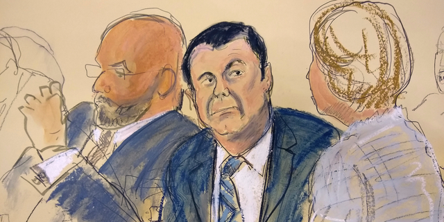 """In this courtroom sketch Joaquin """"El Chapo"""" Guzman, center, sits next to his defense attorney Eduardo Balazero, left, for opening statements as Guzman's high-security trial gets underway in the Brooklyn borough of New York, Tuesday, Nov. 13, 2018. Guzman pleaded not guilty to charges that he amassed a multi-billion-dollar fortune smuggling tons of cocaine and other drugs in a vast supply chain that reached New York, New Jersey, Texas and elsewhere north of the border. The infamous Mexican drug lord has been held in solitary confinement since his extradition to the United States early last year. (Elizabeth Williams via AP)"""