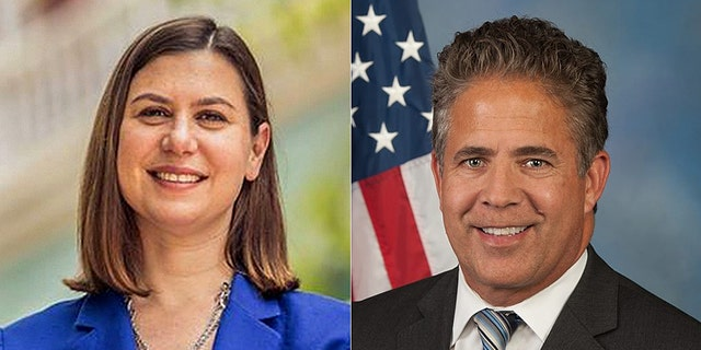 The race between Rep. Mike Bishop (right) and Elissa Slotkin (left) is ranked a toss-up.