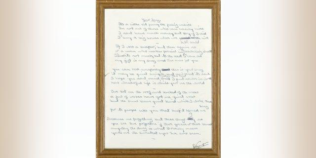"From 1970, Bernie Taupin's original lyrics to ""Your Song,"" Elton John's first hit mega-hit. (Courtesy: Bonhams international auctioneers.)"