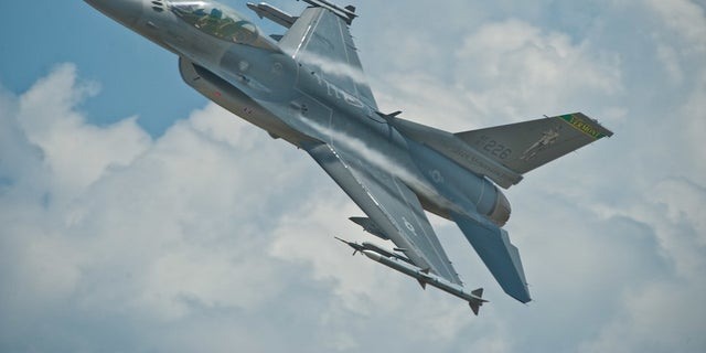 The hourly operating cost of an F-16 (pictured) is about $8,000, according to the Department of Defense.