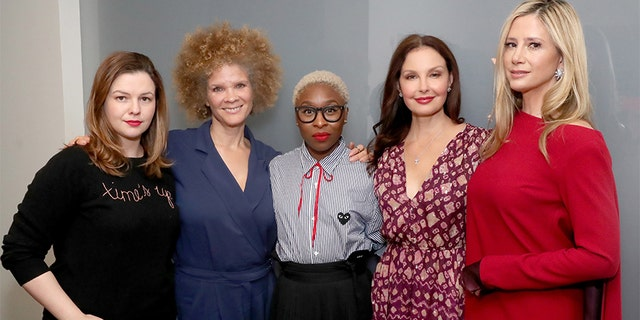 """Amber Tamblyn, Michaela Angela Davis, Cynthia Erivo, Ashley Judd and Mira Sorvino attend """"Time's Up"""" during the 2018 Tribeca Film Festival at Spring Studios on April 28, 2018 in New York City."""
