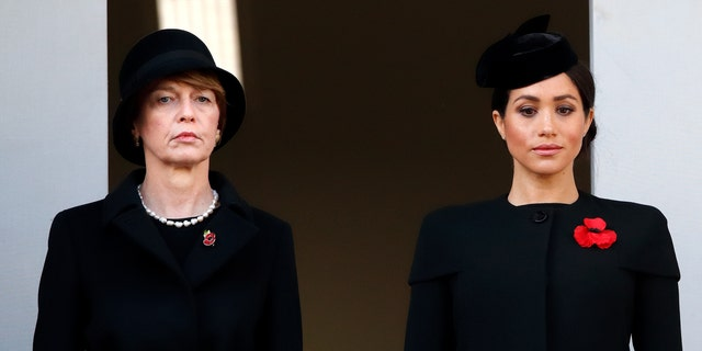 Elke Büdenbender and Meghan, Duchess of Sussex attend the annual Remembrance Sunday Service at The Cenotaph on November 11, 2018 in London, England.