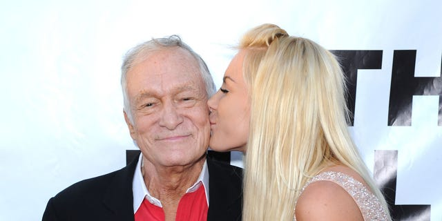 Hugh Hefner and Crystal Harris attend the 55th Anniversary Thalians Gala Honoring Hugh Hefner at The Playboy Mansion on April 30, 2011 in Beverly Hills, Calif.