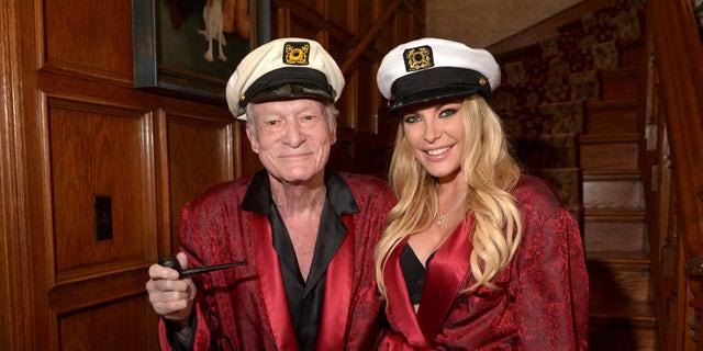 Hugh Hefner and Crystal Hefner attend Playboy Mansion's Annual Halloween Bash at The Playboy Mansion on October 25, 2014 in Los Angeles, Calif.