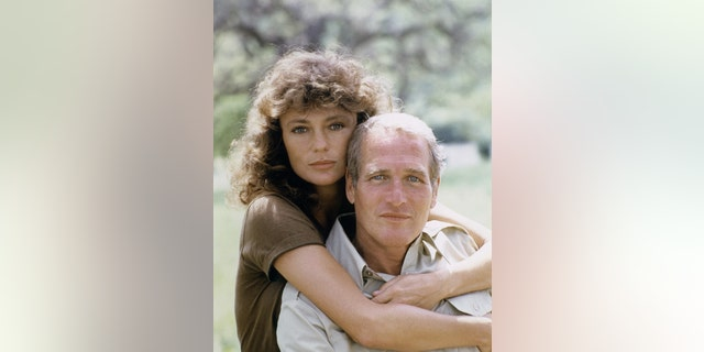 "British actress Jacqueline Bisset and American actor Paul Newman on the set of ""When Time Ran Out."""