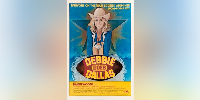 "A poster for the pornographic film ""Debbie Does Dallas,"" starring Bambi Woods, with the tagline ""Everyone on the team scores when her pom-poms fly!'"""