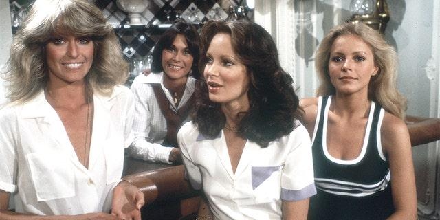 A scene from Charlie's Angels' Season 3 shows Jill (Farrah Fawcett, left), Sabrina (Kate Jackson, second from left), Kelly (Jaclyn Smith) and Kris (Cheryl Ladd).