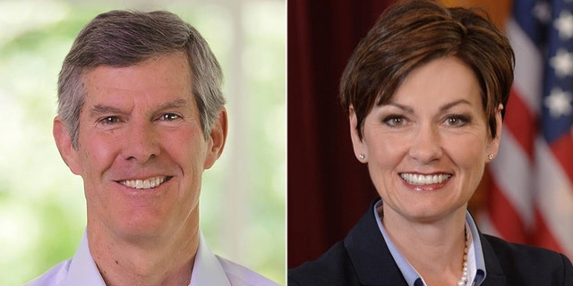 Democrat Fred Hubbell (left) faces Republican Kim Reynolds in Iowa's gubernatorial race.