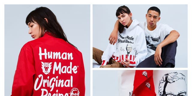 The Human Made x KFC Capsule Collection includes a Colonel shop jacket, 70s style racing jacket, hoodies, t-shirts and more ranging from $20 to $375.