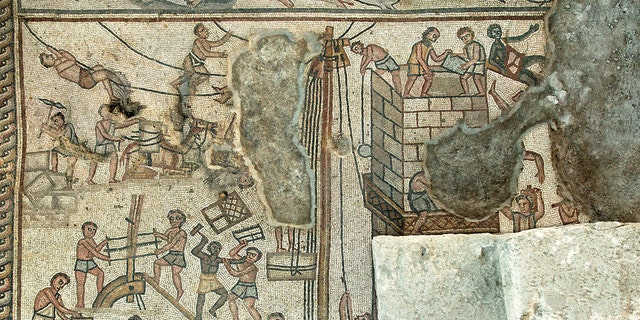 Mosaic depicting the building of the Tower of Babel, Huqoq synagogue. (Jim Haberman, Courtesy UNC-Chapel Hill)
