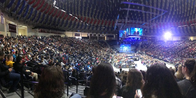 """Students listening to a panel on """"Battling the Opioid Crisis"""" at Liberty University."""