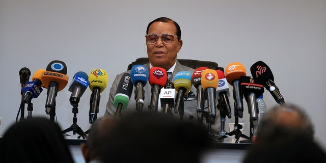 Louis Farrakhan, the leader of the Nation of Islam, speaks at a press conference in Tehran, Iran.