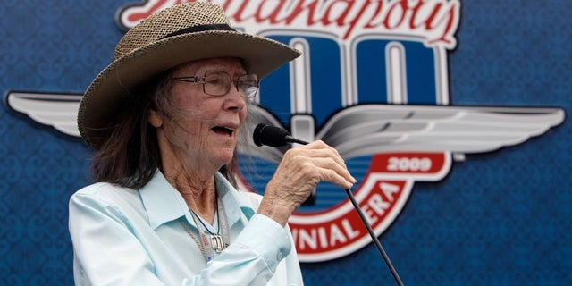Mari Hulman George, chairman of the board of the Indianapolis Motor Speedway, gives the command to start engines at the start the 93rd running of the Indianapolis 500 auto race at the Indianapolis Motor Speedway in Indianapolis.