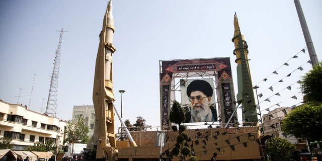 File photo - Iranian ballistic missiles Sejjil and Qadr-H on display at Baharestan Square during Iranian Defense Week in Tehran, Iran on September 25, 2017.