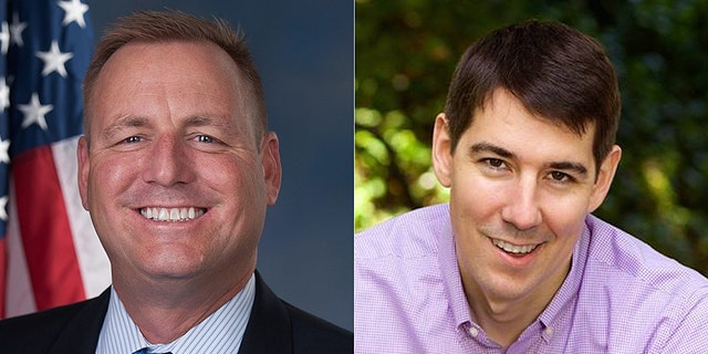 The race between Rep. Jeff Denham (left) and Josh Harder (right) is ranked a toss-up.