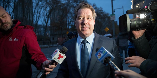 """Joaquin Guzman's defense attorney Jeffrey Lichtman speaks to reporters as he leaves Brooklyn Federal court after opening arguments in the trial of the Mexican drug lord known as """"El Chapo,"""" Tuesday, Nov. 13, 2018, in New York. (AP Photo/Mary Altaffer)"""