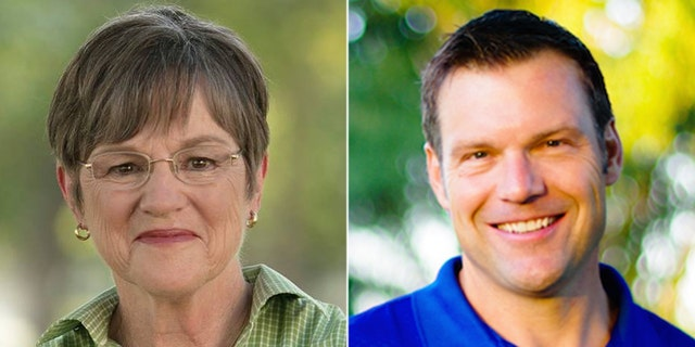 Democrat Laura Kelly (left) faces Republican Kris Kobach in Kansas' gubernatorial race.