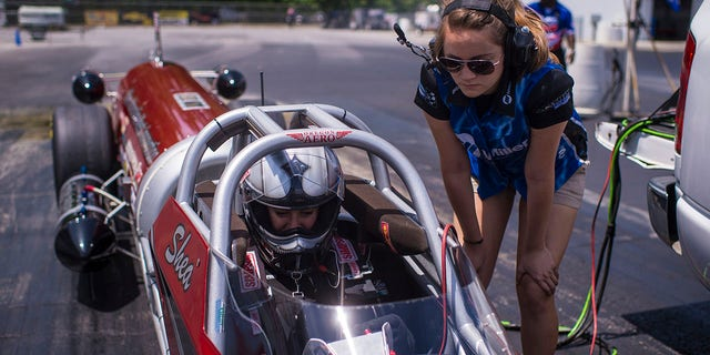 Kat Moller (in car) at the Maryland International Raceway in Mechanicsville, MD on June 18, 2015.
