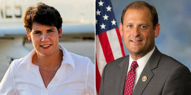 The race between Rep. Andy Barr (right) and Amy McGrath (left) is ranked a toss-up.