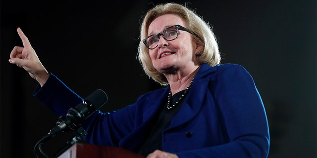 U.S. Sen. Claire McCaskill, D-Mo., speaks during a campaign rally Wednesday, Oct. 31, 2018, in Bridgeton, Mo. McCaskill is running for re-election. (AP Photo/Jeff Roberson)