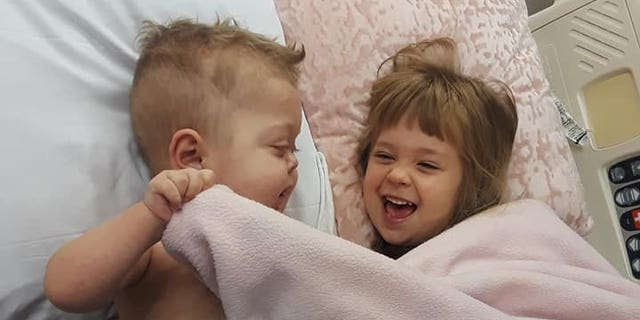 Jace pictured with his sister Lilliona, was born with hypoplastic left heart syndrome, a condition in which the left side of the heart does not develop correctly.