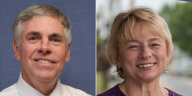 Republican Shawn Moody (left) faces Democrat Janet Mills in Maine's gubernatorial race.