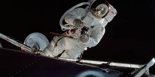 Astronaut Russell Schweickart performs a spacewalk on the fourth day of the Apollo 9 mission (NASA).