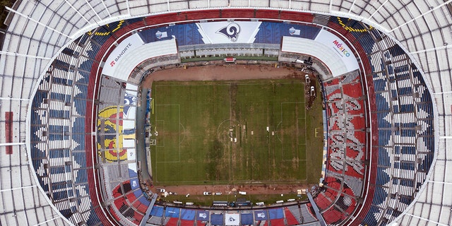 Mexico's Azteca Stadium is seen from above in Mexico City, Tuesday, Nov. 13, 2018. The NFL has moved the Los Angeles Rams' Monday night showdown with the Kansas City Chiefs from Mexico City to Los Angeles due to the poor condition of the field at Azteca Stadium.