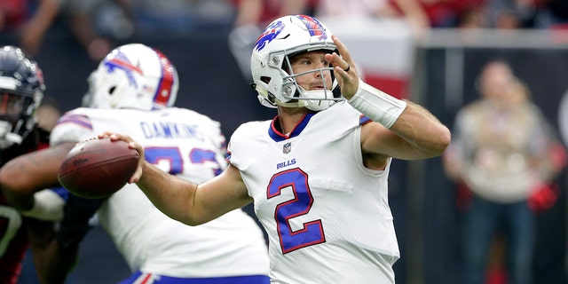 In this Oct. 14, 2018, file photo, Buffalo Bills quarterback Nathan Peterman throws a pass during an NFL game.