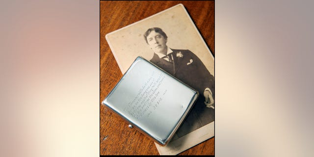 "The cigarette case is a unique reminder of Oscar Wilde's love affair with Lord Alfred Douglas, known as ""Bosie."" (Henry Aldridge and Son)"