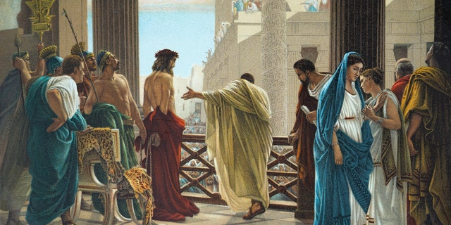 Postcard from 1900 depicts Pontius Pilate presenting Jesus Christ to a hostile crowd shortly before his crucifixion. (Photo by: Universal History Archive/UIG via Getty Images)