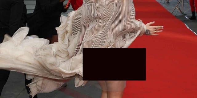 Rita Ora suffered a wardrobe malfunction while attending Cartier'sPrecious Garage party on Thursday.