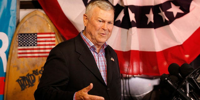 U.S. Rep. Dana Rohrabacher, R-Costa Mesa, addresses members of the media and supporters waiting for election results at the Skosh Monahan's Irish Pub in Costa Mesa, Calif., Tuesday, Nov. 6, 2018. (Associated Press)
