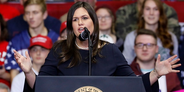 White House Press Secretary Sarah Huckabee Sanders speaks during a campaign rally for Republican Senate candidate Mike Braun and attended by President Trump at the County War Memorial Coliseum in Fort Wayne, Indiana.