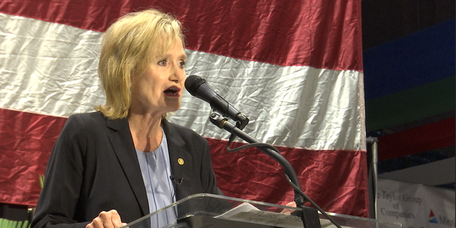 Sen. Cindy Hyde-Smith addresses the crowd at the state's annual hobnob event hosted by the Mississippi Economic Council.