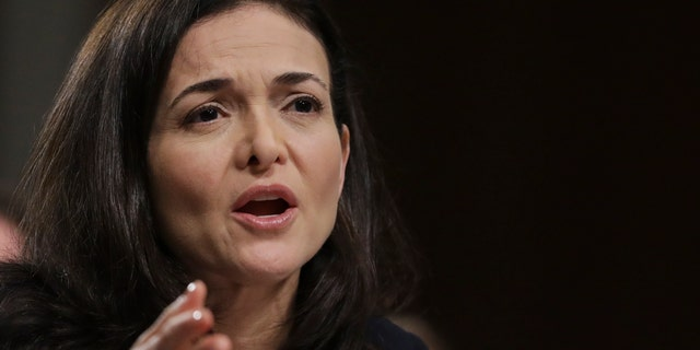 Facebook chief operating officer Sheryl Sandberg testifies during a Senate Intelligence Committee hearing on Sept. 5, 2018