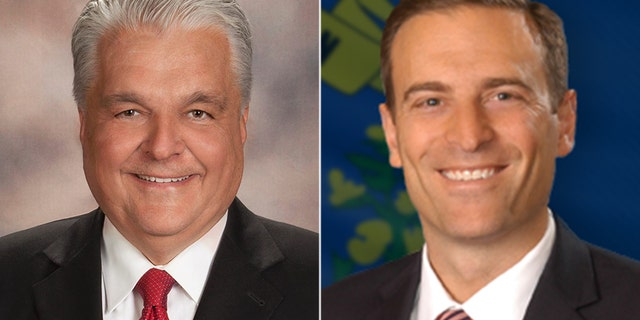 Democrat Steve Sisolak (left) faces Republican Adam Laxalt in Nevada's gubernatorial race.