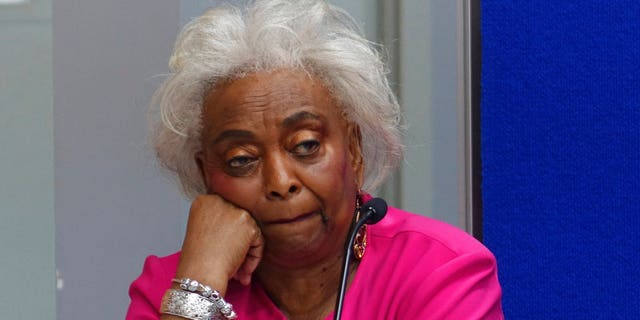 Broward Supervisor of Elections Bremda Snipes listens Monday, Nov. 12, 2018, at the Broward Supervisor of Elections office in Lauderhill, Fla. The Florida recount continued Monday in Broward County. (Joe Cavaretta /South Florida Sun-Sentinel via AP)