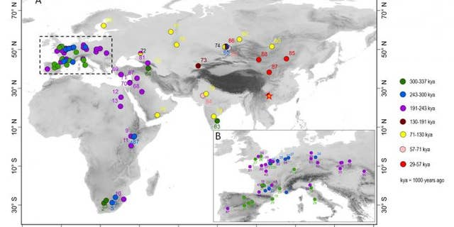 The map shows where Levallois artifacts have been found, the oldest dating to 337,000 years ago. (Marwick et al)