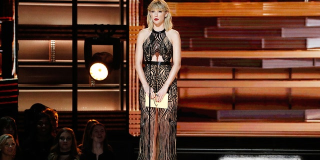 Taylor Swift speaks onstage during the 50th annual CMA Awards at the Bridgestone Arena on Nov. 2, 2016 in Nashville, Tenn.